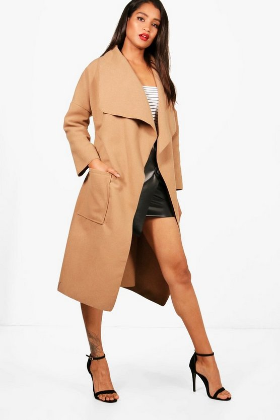 Womens Camel Belted Waterfall Coat