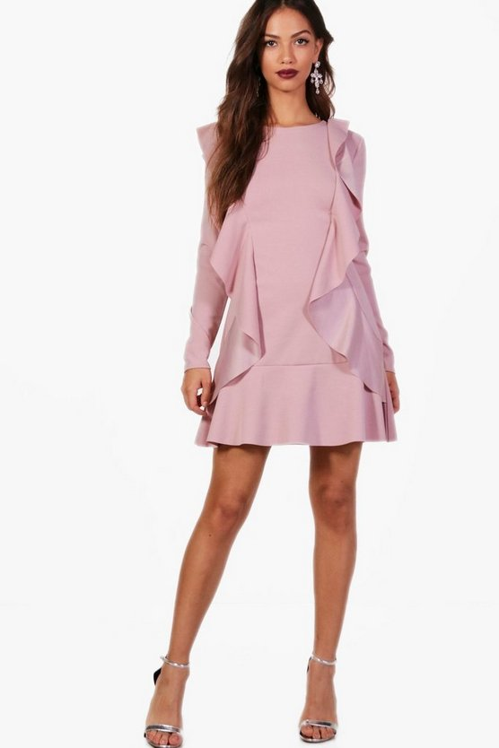 Ruffle Hem and Front Long Sleeve Dress