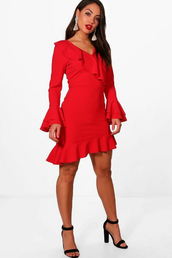 Womens Ruffle Flared Sleeve Asymmetric Tea Dress
