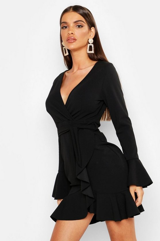 Womens Black Frill Sleeve Tie Waist Ruffle Hem Tea Dress