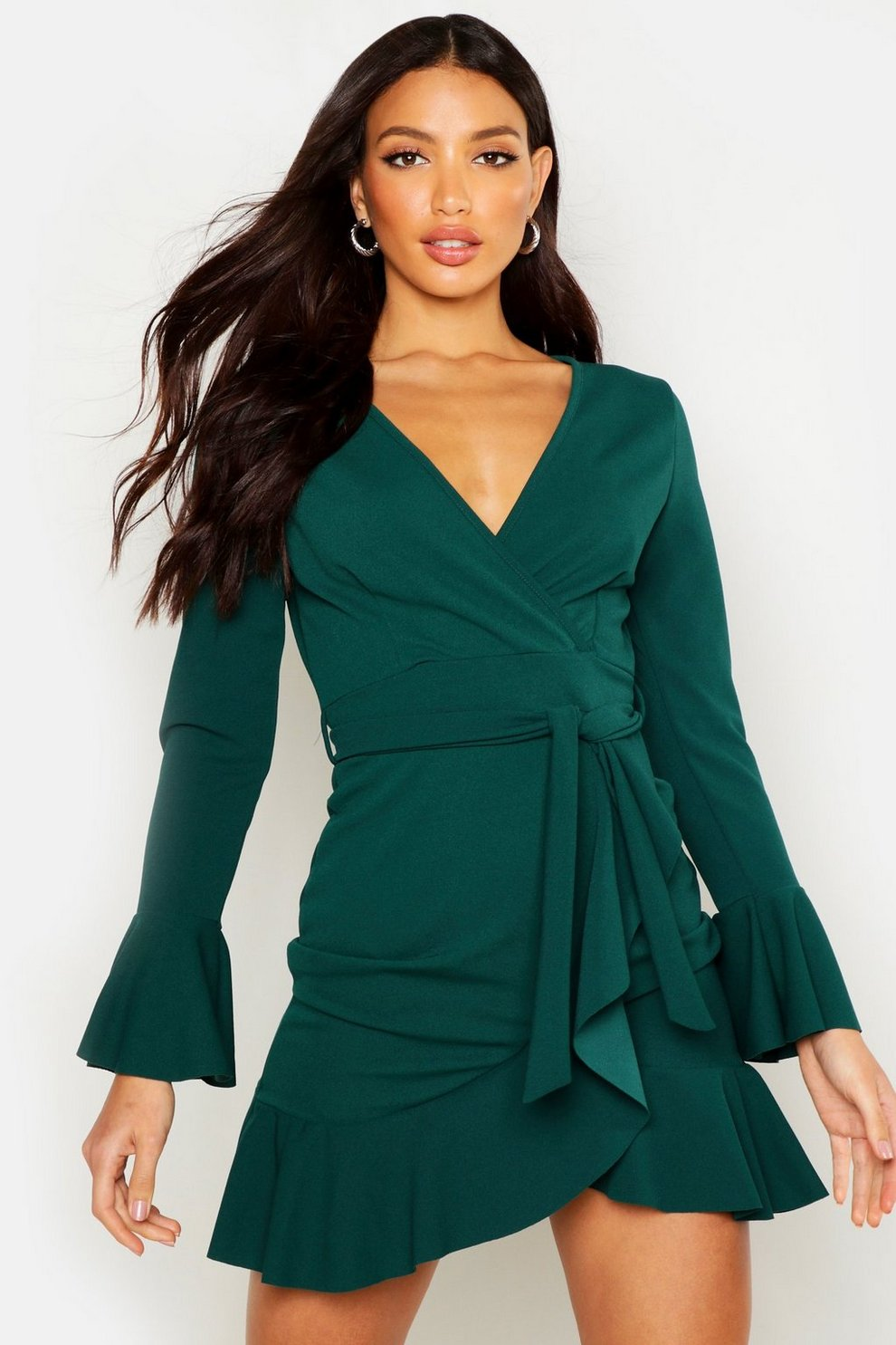 9fd57800f1d62 Womens Emerald Frill Sleeve Tie Waist Ruffle Hem Tea Dress