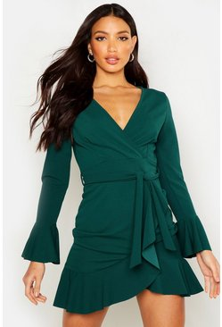 Womens Emerald Frill Sleeve Tie Waist Ruffle Hem Tea Dress