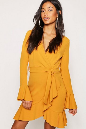 Mustard Frill Sleeve Tie Waist Ruffle Hem Tea Dress