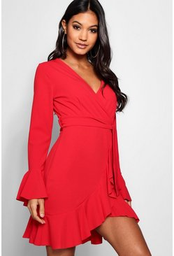 Womens Red Frill Sleeve Tie Waist Ruffle Hem Tea Dress