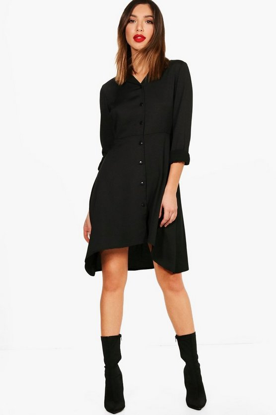 Dipped Hem Button Through Shirt Dress