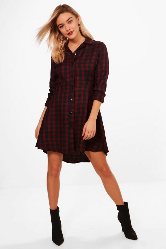 Berry Woven Check Fit & Flare Shirt Dress