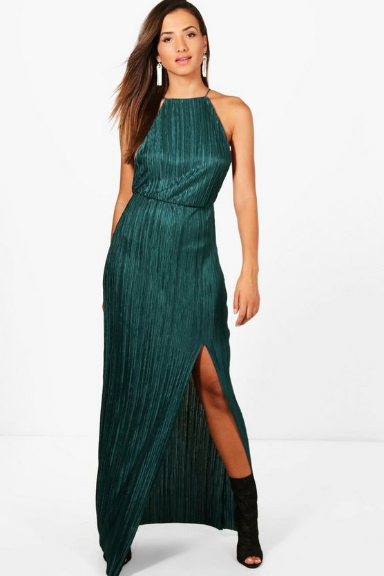 Pletaed Thigh Split Maxi Dress
