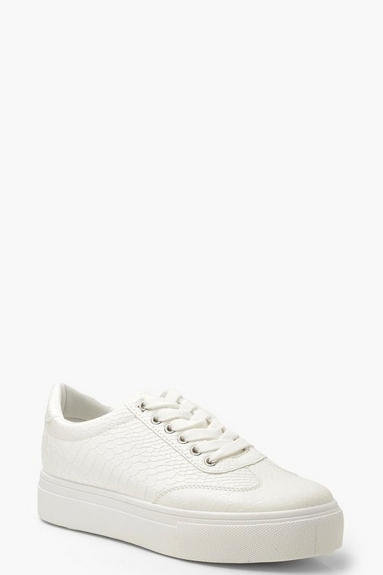 Womens White Snake Effect Platform Trainers