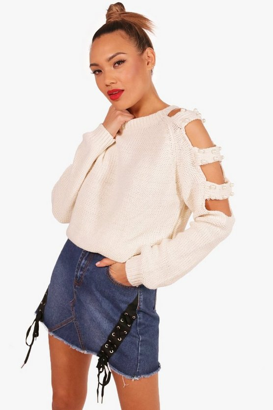 Lily Pearl Detail Cold Shoulder Cut Out Jumper