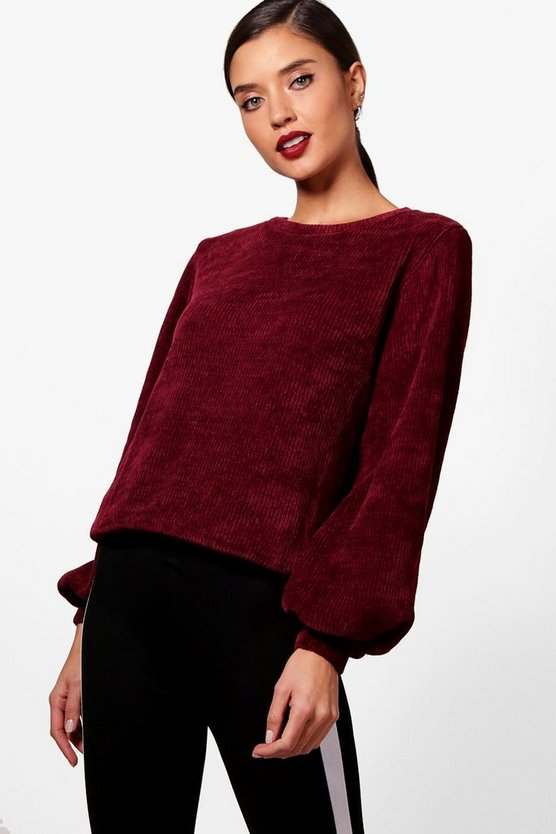 Balloon Sleeve Chenille Jumper
