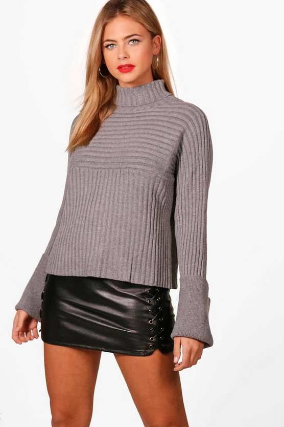 Lola Rib Knit Roll Kneck Jumper With Flare Sleeve