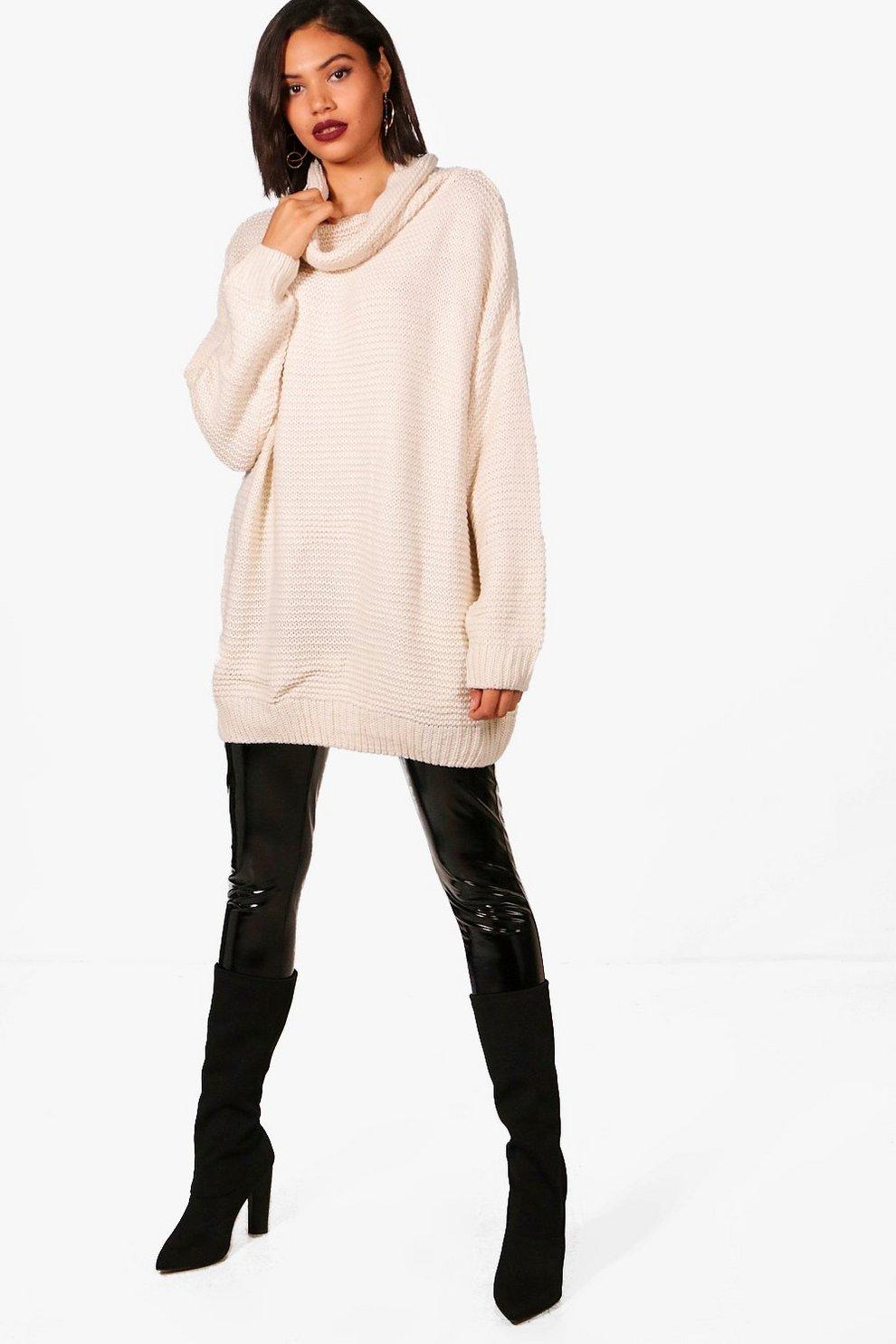 80ee1a3f0 Womens Beige Oversized Chunky Knit Roll Neck Jumper