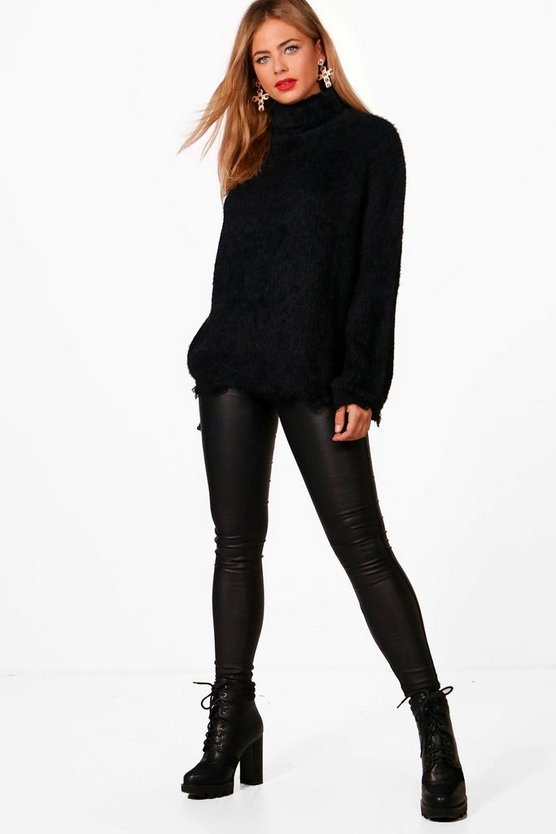 Womens Black Cassie Fluffy Knit Roll Neck Oversized Jumper