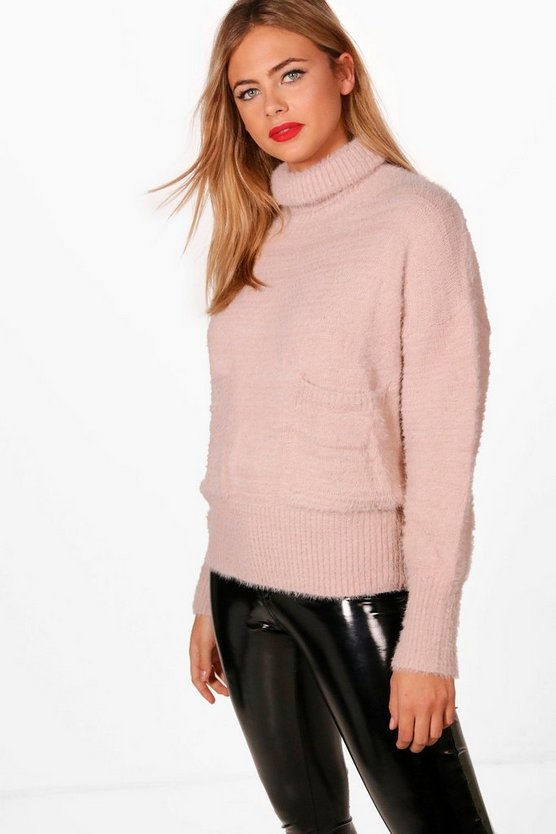 Fluffy Knit Roll Neck Pocket Front Jumper