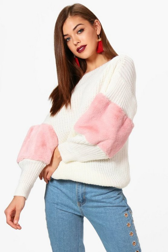 Rosie Faux Fur Trim Detail Oversized Jumper