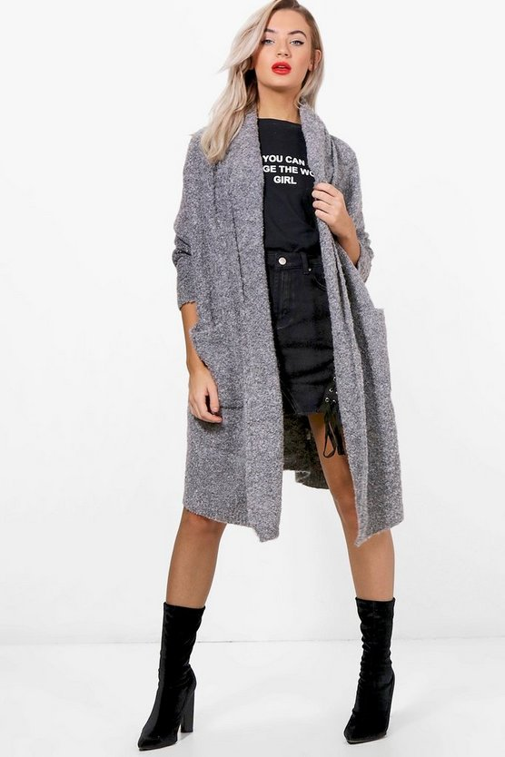 Verity Oversized Shawl Collar Boucle Cardigan