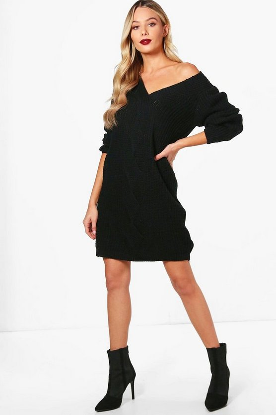 Womens Black Cable Front Chunky Jumper Dress
