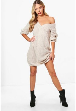 Womens Cream Cable Front Chunky Jumper Dress