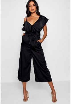 Womens Black Asymmetric Neckline Satin Wrap Culotte Jumpsuit