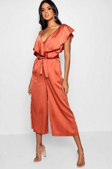 Womens Copper Asymmetric Neckline Satin Wrap Culotte Jumpsuit