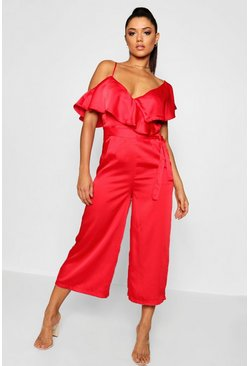 Red Asymmetric Neckline Satin Wrap Culotte Jumpsuit