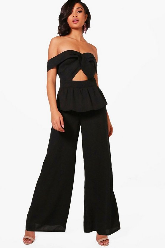 Bardot Twist Front Wide Leg Jumpsuit