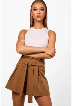 Tailored Smart Tie Belt Shorts, Olive, Donna