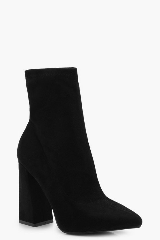Womens Black Flared Suedette Sock Boots
