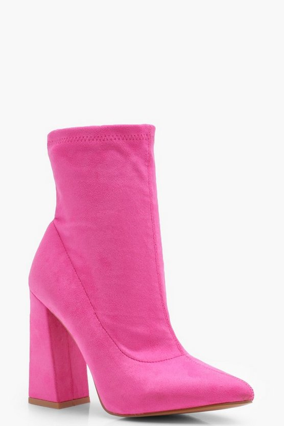 Flared Heel Suedette Shoe Boots