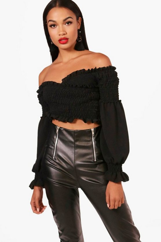 Black Shirred Wrap Flare Cuff Crop