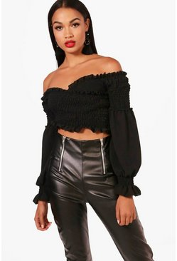 Womens Black Shirred Wrap Flare Cuff Crop