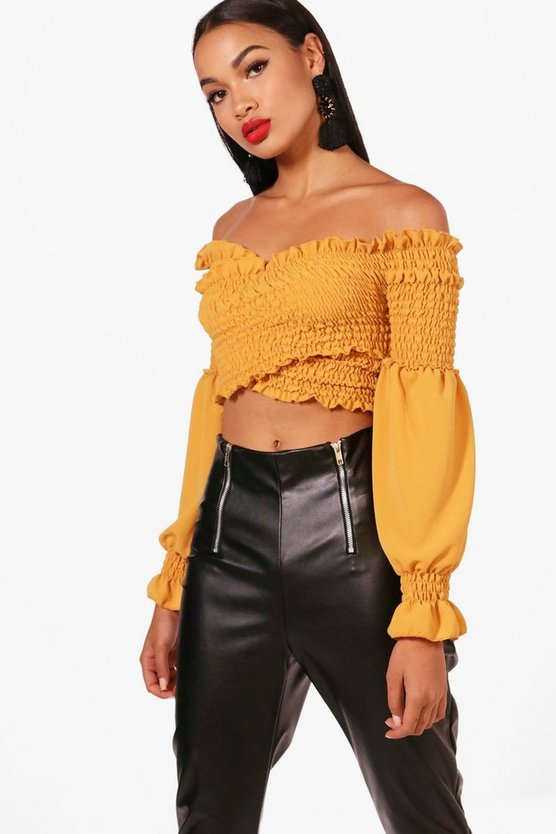 Shirred Wrap Flare Cuff Crop
