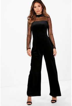 Womens Black Velvet Wide Leg Jumpsuit