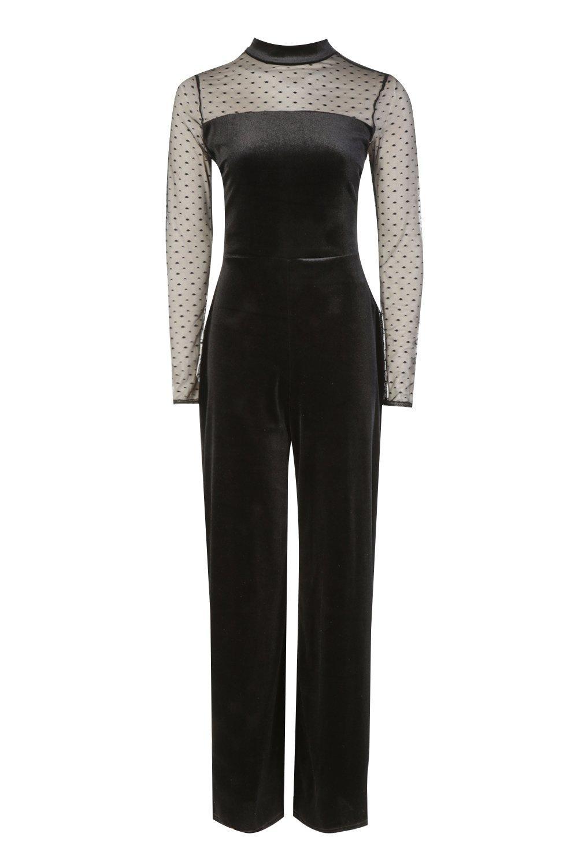 Leg Velvet Jumpsuit Velvet Wide black Wide tH5vqwv