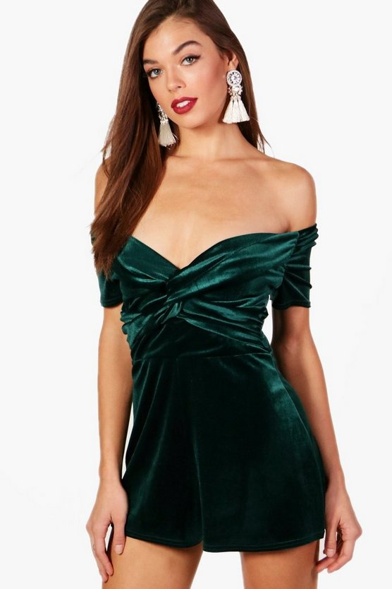 Velvet Off The Shoulder Playsuit, Emerald, Donna