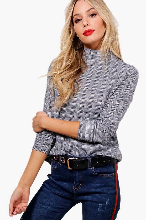 Jade Prince of Wales Check Roll Neck Top