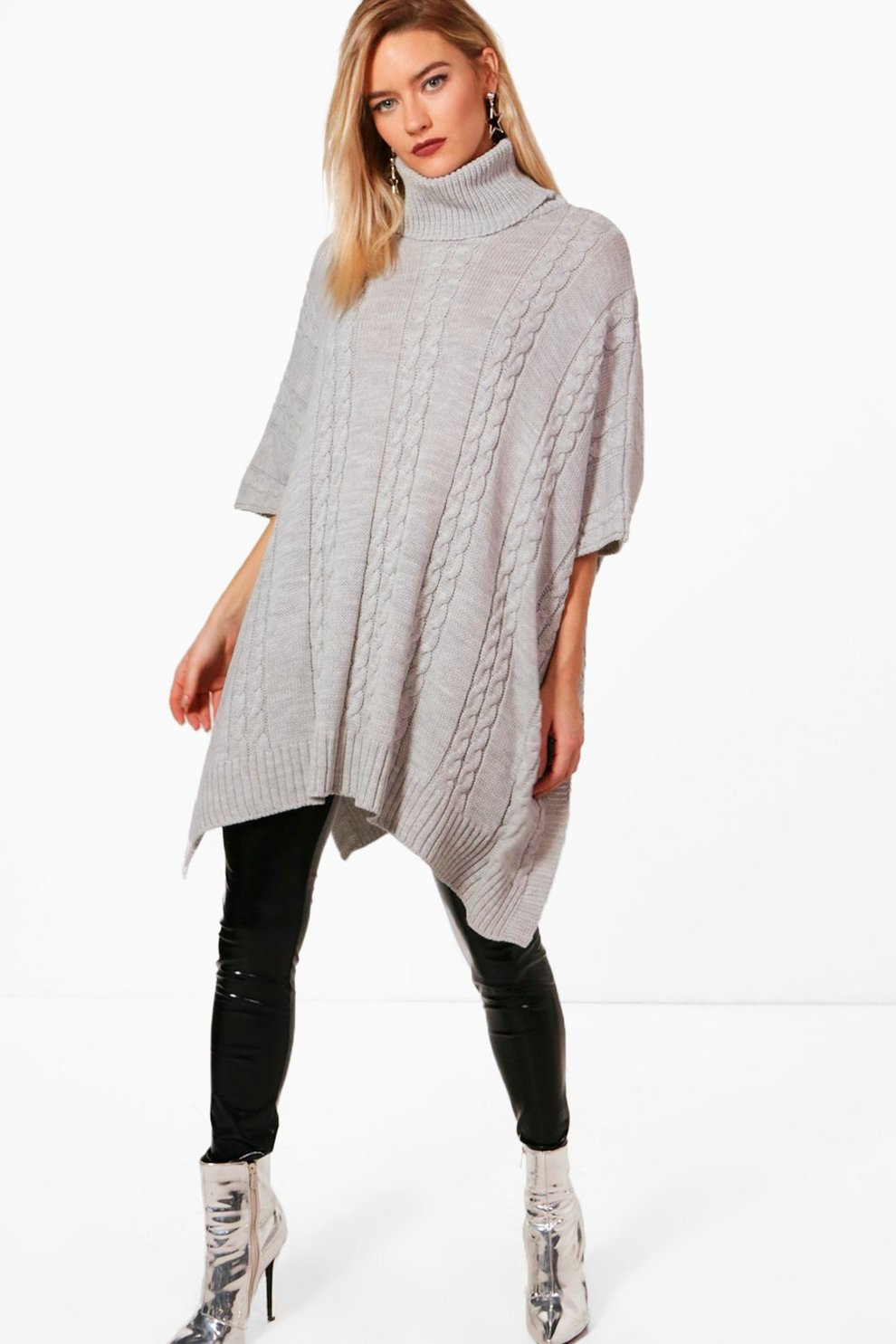 Lucinda Chunky Cable Knitted Poncho  93fd191d2