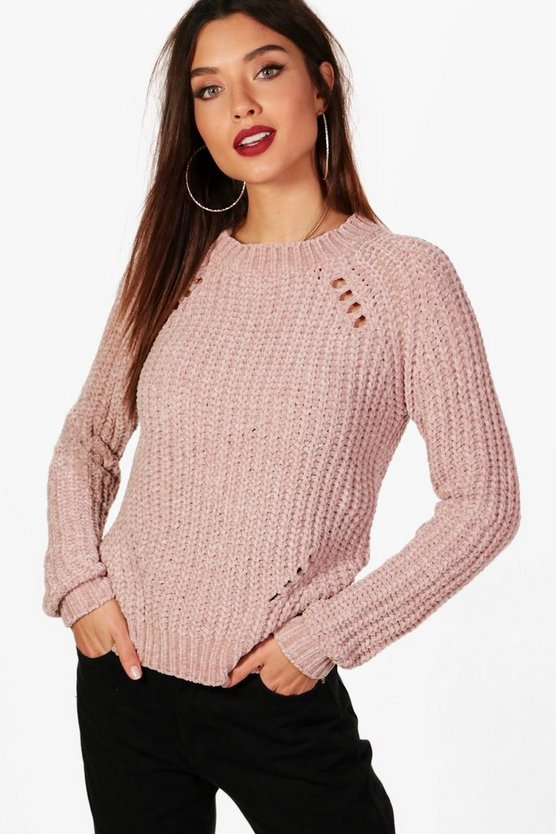 Distressed Chenille Jumper