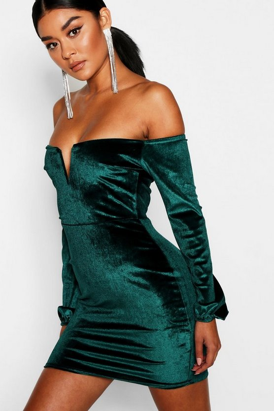 Womens Bottle green Off the Shoulder Velvet Bodycon Dress