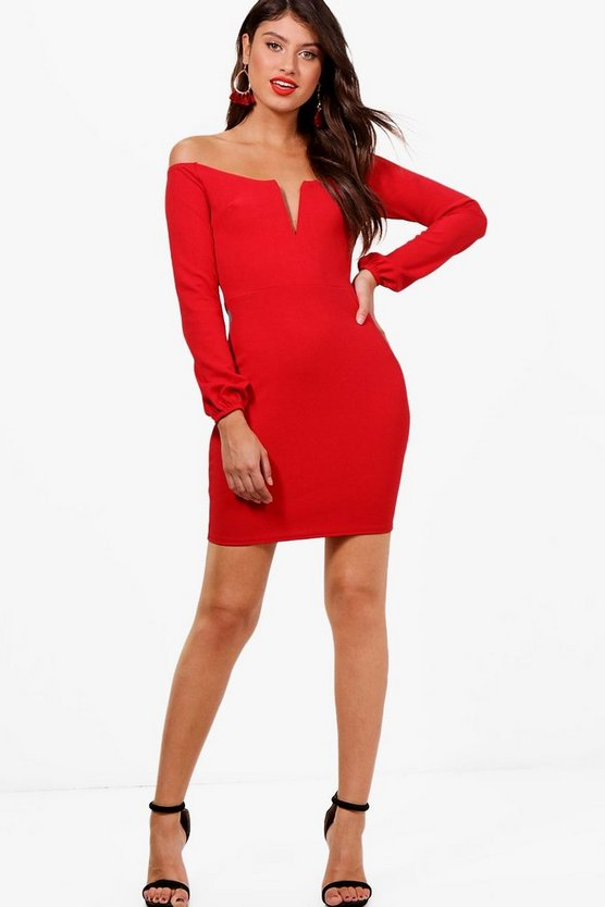 Plunge Off the Shoulder Bodycon Dress