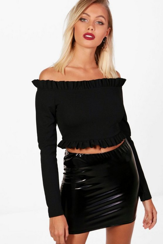 Micro Ruffle Off The Shoulder Top