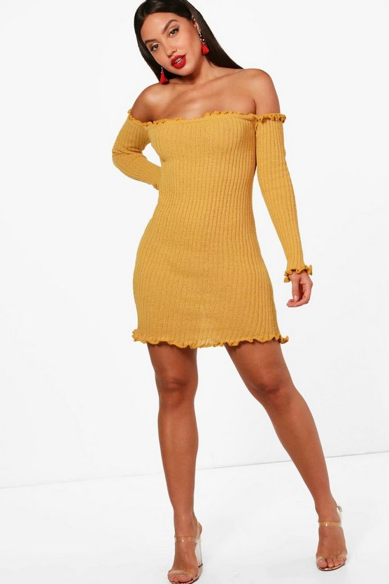 Lettuce Hem Rib Knit Long Sleeve Dress