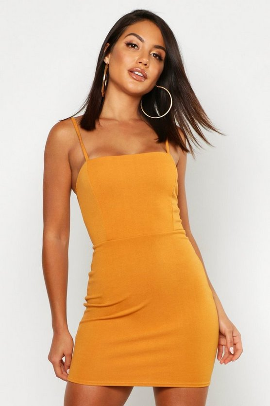 Womens Amber Crepe Square Neck Bodycon Dress