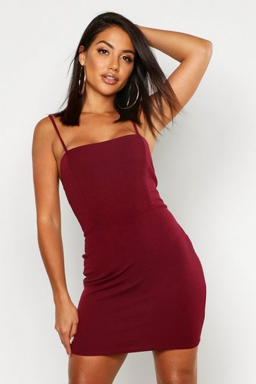 Berry Crepe Square Neck Bodycon Dress