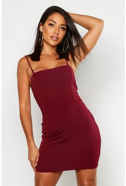 Womens Berry Crepe Square Neck Bodycon Dress
