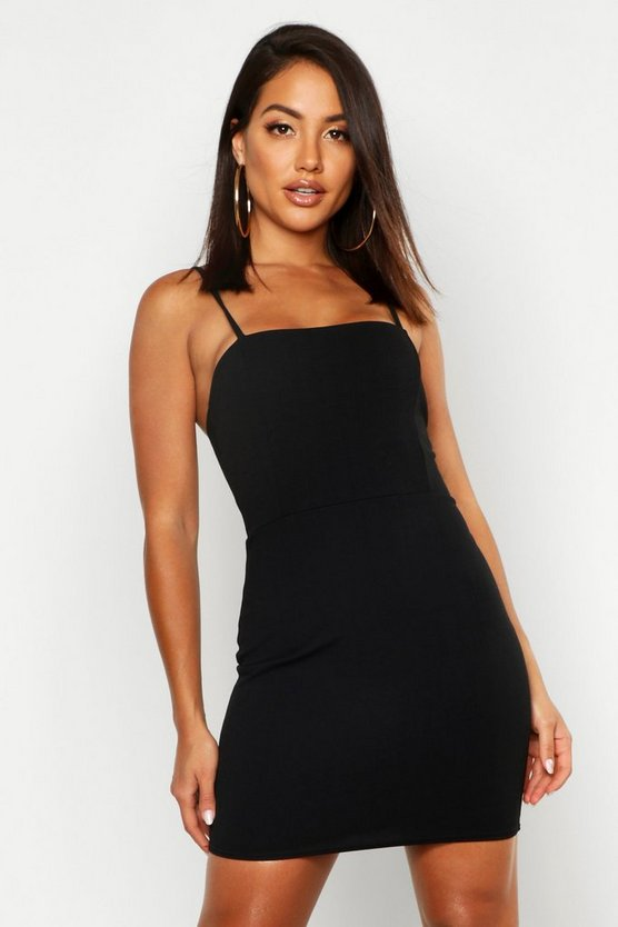 Womens Black Crepe Square Neck Bodycon Dress