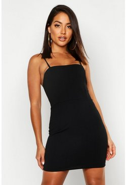 Crepe Square Neck Bodycon Dress, Black, Donna