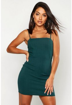 Crepe Square Neck Bodycon Dress, Bottle green, Donna