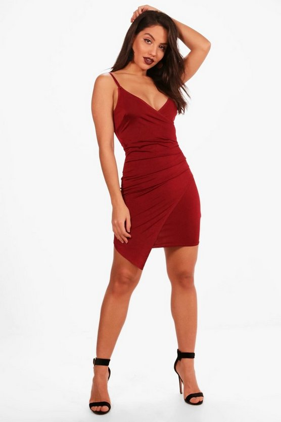 Womens Berry Slinky Wrap Detail Bodycon Dress