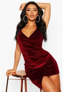 Velvet Wrap Bodycon Dress, Berry